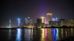 Time lapse of the stunning Macau skyline, inc casinos and the Macao Tower Stock Footage