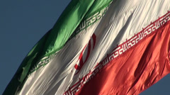 Real Iranian flag waving in the wind, Tehran, Iran Stock Footage