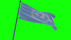 UN Flag with greenscreen and alpha Stock Footage