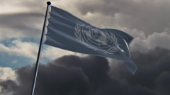 UN Flag, HQ animated on an epic doomy background Stock Footage