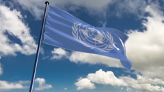 UN Flag, HQ animated on an epic background Stock Footage