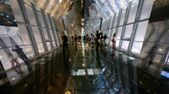 Time lapse,people in sightseeing hall,modern glass building inter. Stock Footage