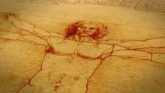 Leonardo da Vinci Vitruvian Man Stock Footage