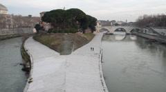 Tiber island in Rome Stock Footage