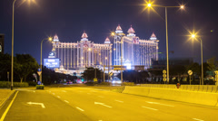Time lapse of the Galaxy Macau resort located on the Cotai Strip, Macau, China Stock Footage