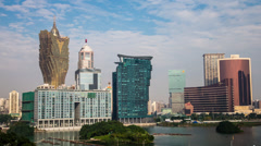 Day time lapse of the Macau skyline Stock Footage