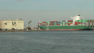 Stock Video Footage of Container Ship Enters Port Of Los Angeles