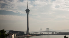 Time lapse during the day of the Macau Tower Stock Footage