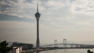 Stock Video Footage of Time lapse during the day of the Macau Tower