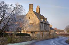 Half timbered cotswold farmhouse, gloucestershire, england Stock Photos