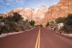 highway 9 zion park blvd road buttes altar of sacrifice - stock photo