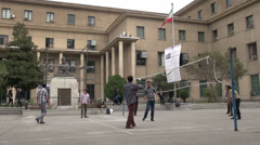 Tehran University, Iran, students play game of volleyball at campus Stock Footage