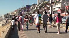 1000  People at Reñaca Beach, Chile Stock Footage