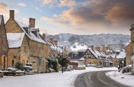Stock Photo of cotswold village of broadway in snow, worcestershire, england
