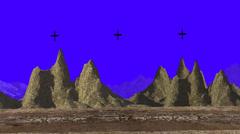 Desert Mountains ona blue screen Camera Rotating Forward Stock Footage