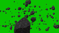 Flying in space through an asteroid belt on a Green Screen Background Stock Footage