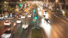 Night time lapse of traffic in Hua hin, Thailand Stock Footage