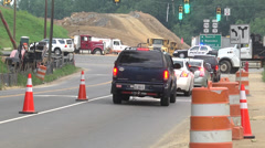 Road construction cars and trucks Stock Footage
