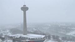 Skylon Tower in Winter Niagara Falls Stock Footage