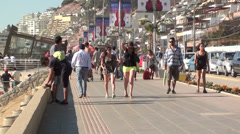 1001 Tourism at Reñaca Beach, Chile Stock Footage