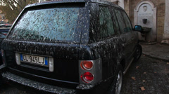 Back view of Range Rover covered in bird mess Stock Footage