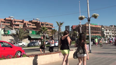 1002  My summertime at People at Reñaca Beach, Chile Stock Footage