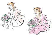 Stock Illustration of young pretty bride on wedding ceremony