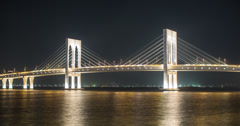 4K night time lapse of Sai Van Bridge in Macau Stock Footage