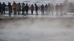 Close view of Geysir erupting in Slow motion Stock Footage