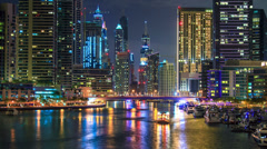 City chanel  night timelapse zoom 4K Stock Footage