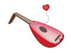 A Beautiful Antique Lute Playing Love Song - stock illustration
