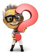 Professor with question mark symbol - stock illustration
