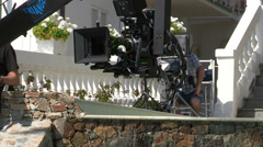 Red pro camera arrached to a jib Stock Footage