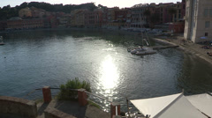 Boats docked in Sestri Levante Stock Footage