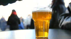 Glass of beer – close-up shot Stock Footage