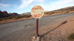 Stop sign aged weathered wild west #2 Stock Footage