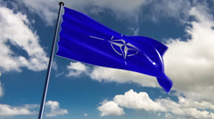 NATO Flag, HQ animated on an epic background Stock Footage