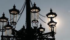 Elderly glowing streetlight lamp. Refocus the lens. Stock Footage