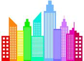 Stock Illustration of Rainbow Colored Modern City Skyscrapers Buildings Silhouettes