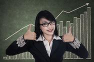 Stock Illustration of businesswoman giving thumbs up