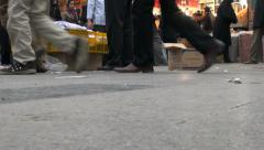 Low angle video of people visiting Tehran bazaar Stock Footage
