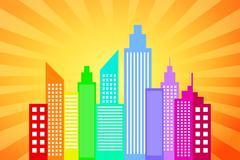 City Skyline auringonlaskun säteet tausta Piirros