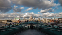 Time lapse of the Millennium bridge and St. Paul's Cathedral in London Stock Footage