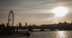 4K London time lapse of the River Thames at dusk Stock Footage
