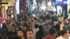 Tehran bazaar, people shopping at night, market, busy, popular, Iran Stock Footage