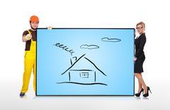 Plasma panel with house Stock Illustration