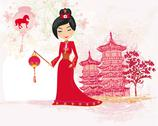 Stock Illustration of geisha celebrated chinese new year