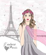 Stock Illustration of girl near eiffel tower. hand drawn paris postcard.