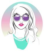 cute young girl fashion illustration. - stock illustration