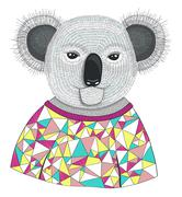 Cute hipster koala. Stock Illustration